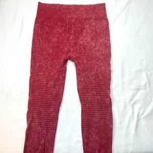 Athleisure Dark Red Tie Dyed Seamless Leggings 1X